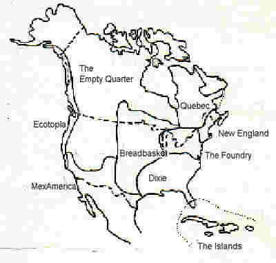 [Outline map of North America's 'nine nations']