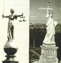 [British and U.S. statues (Justice, Liberty)]